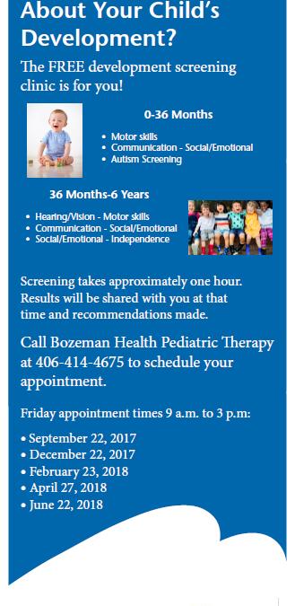 Free Development Screening Clinic in Bozeman, MT
