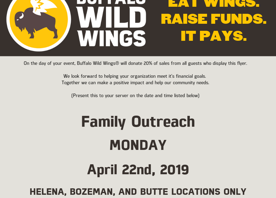 Dining For Disabilities with Family Outreach and Buffalo Wild Wings