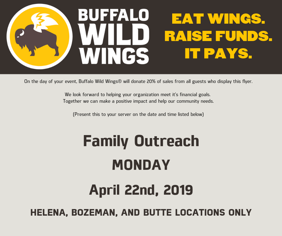 Buffalo Wild Wings Coupon, Voucher, Dining for Disabilities, Fundraiser
