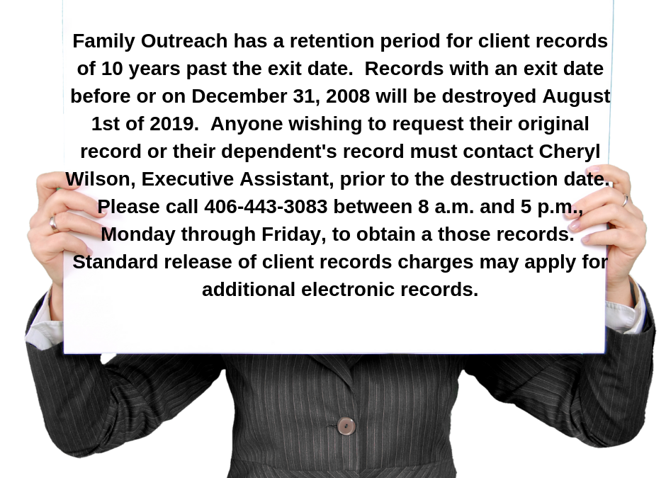 Notice of Intent to Destroy Client Records