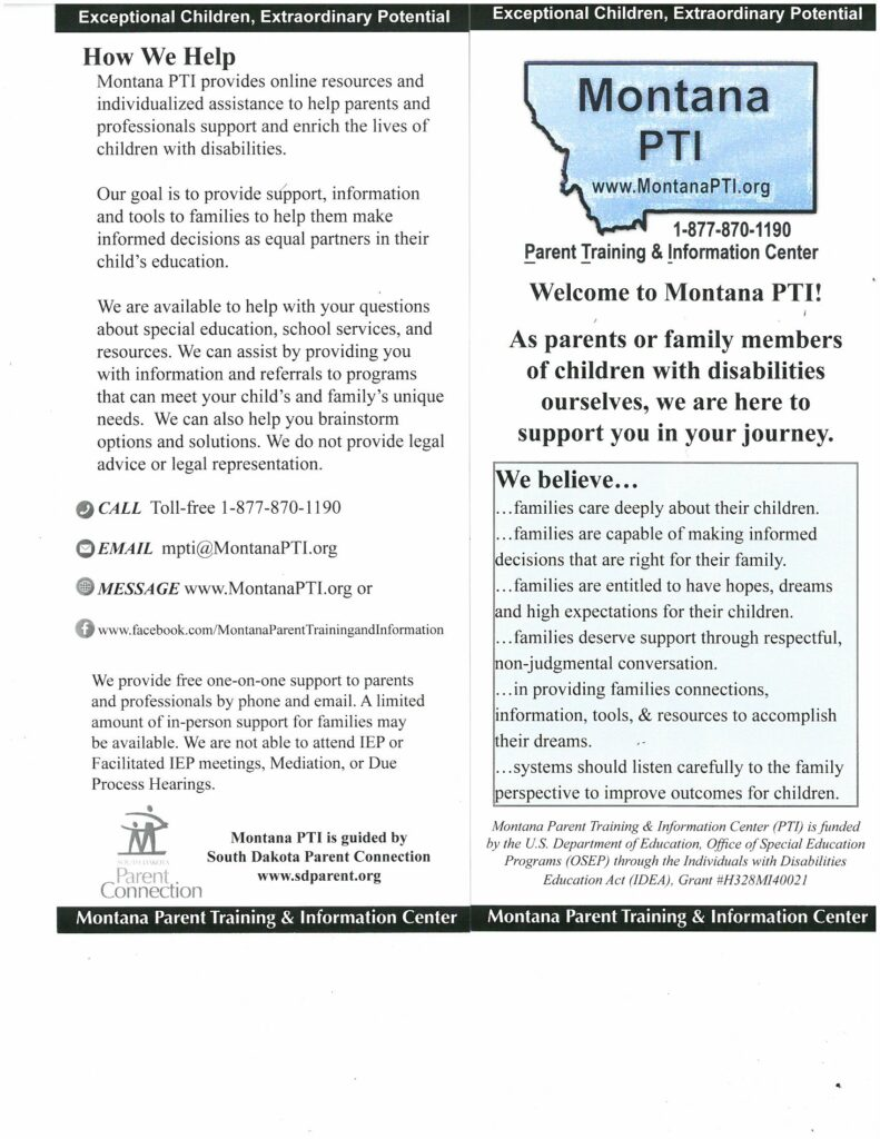 Montana PTI Parent Training and Information Center