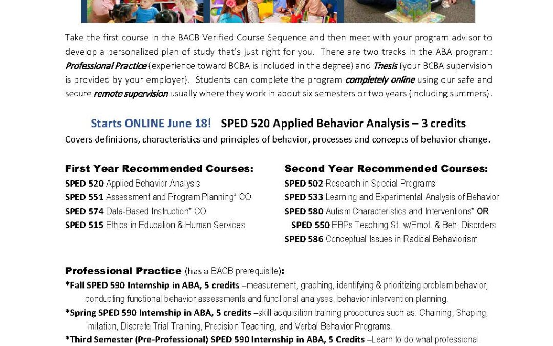 A New Cohort: Applied Behavior Analysis Program