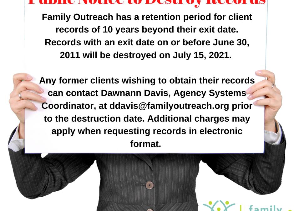 Public Notice to Destroy Records